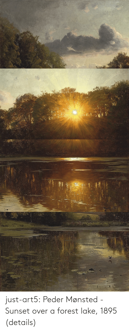 File: just-art5:  Peder Mønsted - Sunset over a forest lake, 1895 (details)