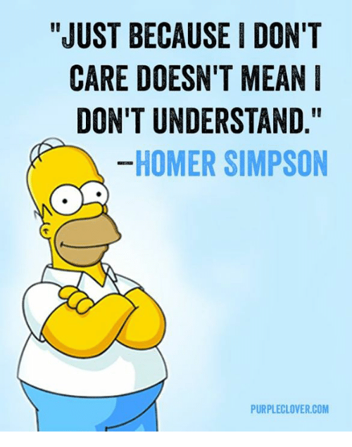 "Homer Simpson: ""JUST BECAUSE I DON'T  CARE DOESN'T MEAN  DON'T UNDERSTAND  HOMER SIMPSON  PURPLECLOVER.COM"