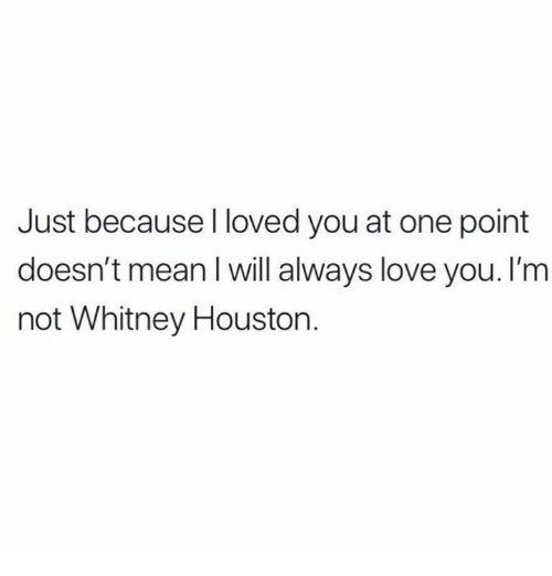 Love, Relationships, and Mean: Just because l loved you at one point  doesn't mean l will always love you. I'm  not Whitney Houstorn.