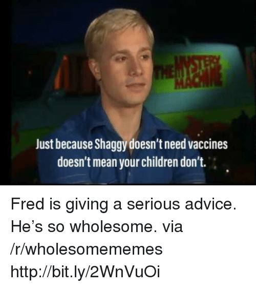 Advice, Children, and Http: Just because Shaggy doesn't need vaccines  doesn't mean your children don't. Fred is giving a serious advice. He's so wholesome. via /r/wholesomememes http://bit.ly/2WnVuOi