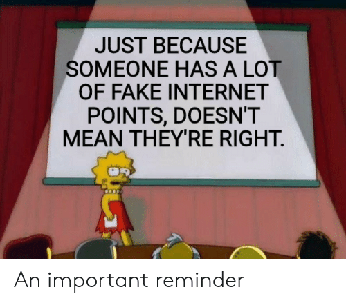 Fake, Internet, and Mean: JUST BECAUSE  SOMEONE HAS A LOT  OF FAKE INTERNET  POINTS, DOESN'T  MEAN THEYRE RIGHT An important reminder
