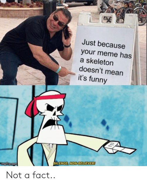 Your Meme: Just because  your meme has  a skeleton  doesn't mean  it's funny  SILENCE, NON-BELIEVER!  mgflip.com Not a fact..