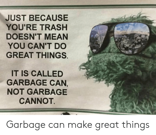 Trash, Mean, and Garbage: JUST BECAUSE  YOU'RE TRASH  DOESN'T MEAN  YOU CAN'T DO  GREAT THINGS.  IT IS CALLED  GARBAGE CAN,  NOT GARBAGE  CANNOT. Garbage can make great things