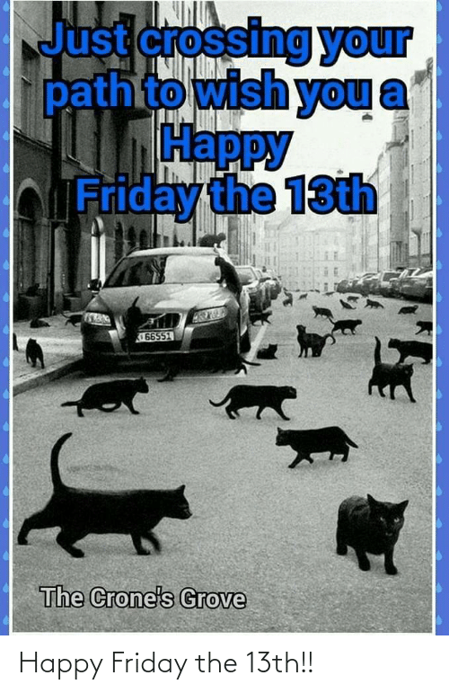 happy friday: Just crossing your  pathto wish you  Нарру  bFriday the 13th  66551  The Crone's Grove Happy Friday the 13th!!