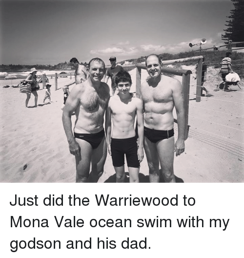 godson: Just did the Warriewood to Mona Vale ocean swim with my godson and his dad.