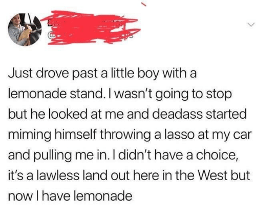 the west: Just drove past a little boy with a  lemonade stand. I wasn't going to stop  but he looked at me and deadass started  miming himself throwing a lasso at my car  and pulling me in. I didn't have a choice,  it's a lawless land out here in the West but  now I have lemonade