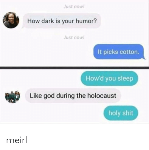 shit: Just now!  How dark is your humor?  Just now!  It picks cotton.  How'd you sleep  Like god during the holocaust  holy shit meirl