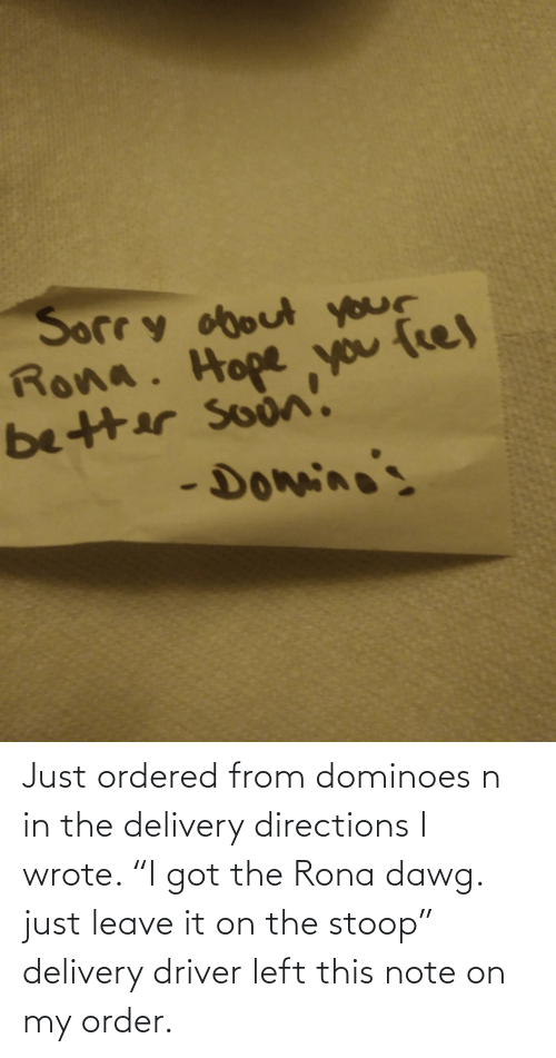 "order: Just ordered from dominoes n in the delivery directions I wrote. ""I got the Rona dawg. just leave it on the stoop"" delivery driver left this note on my order."