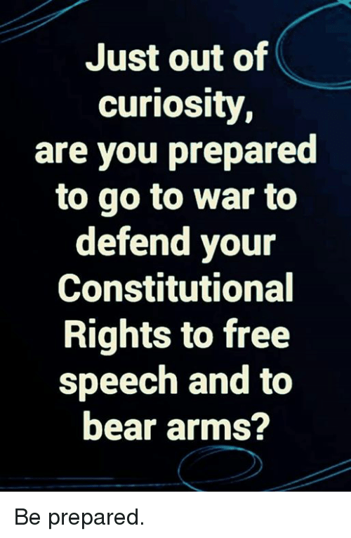 Memes, Bear, and Free: Just out of  curiosity  are you prepared  to go to war to  defend your  Constitutional  Rights to free  speech and to  bear arms? Be prepared.