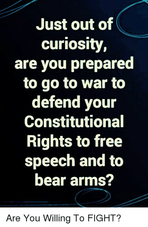 Memes, Bear, and Free: Just out of  curiosity  are you prepared  to go to war to  defend your  Constitutional  Rights to free  speech and to  bear arms? Are You Willing To FIGHT?