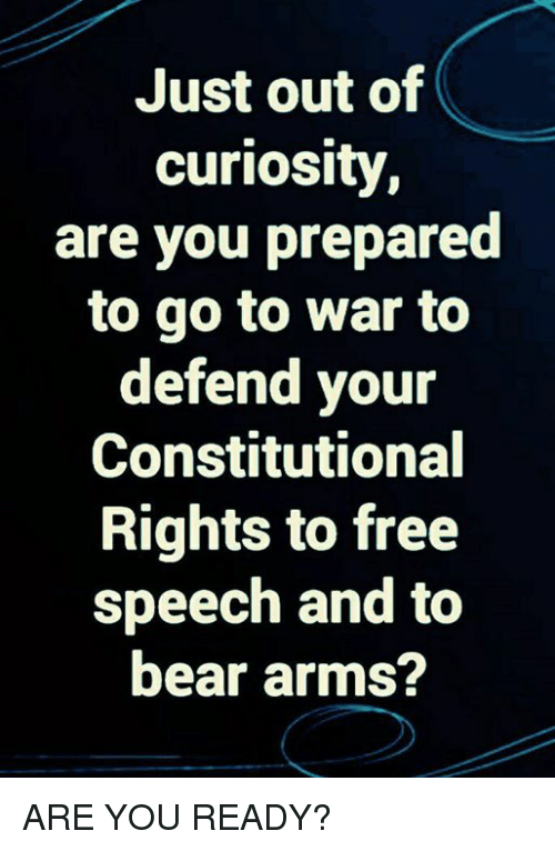 Memes, Bear, and Free: Just out of  curiosity  are you prepared  to go to war to  defend your  Constitutional  Rights to free  speech and to  bear arms? ARE YOU READY?