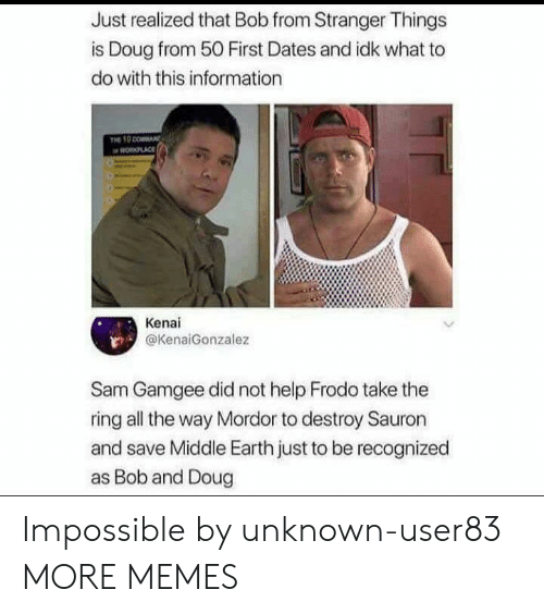 The Ring: Just realized that Bob from Stranger Things  is Doug from 50 First Dates and idk what to  do with this information  PLACE  Kenai  @KenaiGonzalez  Sam Gamgee did not help Frodo take the  ring all the way Mordor to destroy Sauron  and save Middle Earth just to be recognized  as Bob and Doug Impossible by unknown-user83 MORE MEMES