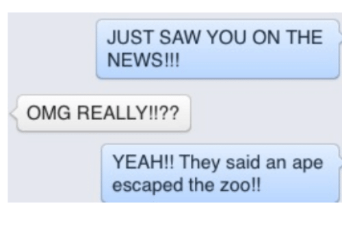 ape escape: JUST SAW YOU ON THE  NEWS!!!  OMG REALLY!!??  YEAH!! They said an ape  escaped the zoo!!