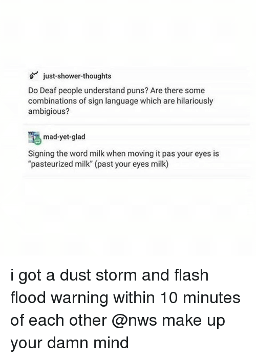 "Puns, Shower, and Shower Thoughts: just-shower-thoughts  Do Deaf people understand puns? Are there some  combinations of sign language which are hilariously  ambigious?  mad-yet-glad  Signing the word milk when moving it pas your eyes is  ""pasteurized milk"" (past your eyes milk) i got a dust storm and flash flood warning within 10 minutes of each other @nws make up your damn mind"