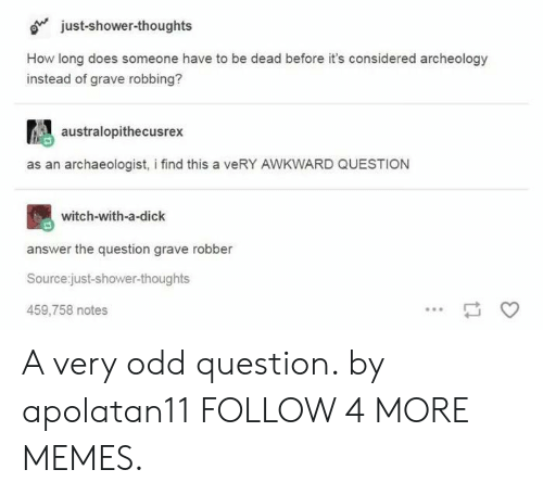 Dank, Memes, and Reddit: just-shower-thoughts  How long does someone have to be dead before it's considered archeology  instead of grave robbing?  australopithecusrex  as an archaeologist, i find this a veRY AWKWARD QUESTION  witch-with-a-dick  answer the question grave robber  Source:just-shower-thoughts  459,758 notes A very odd question. by apolatan11 FOLLOW 4 MORE MEMES.