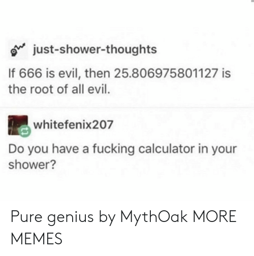 Fucking: just-shower-thoughts  If 666 is evil, then 25.806975801127 is  the root of all evil.  whitefenix207  Do you have a fucking calculator in your  shower? Pure genius by MythOak MORE MEMES