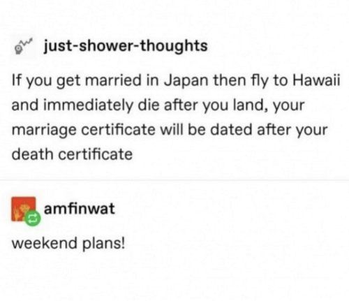 Hawaii: just-shower-thoughts  If you get married in Japan then fly to Hawaii  and immediately die after you land, your  marriage certificate will be dated after your  death certificate  amfinwat  weekend plans!