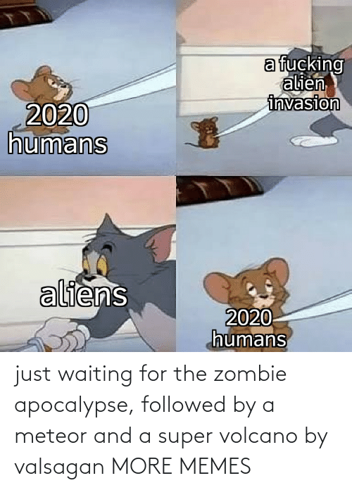 Waiting...: just waiting for the zombie apocalypse, followed by a meteor and a super volcano by valsagan MORE MEMES