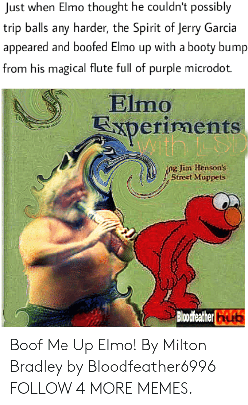 Boof: Just when Elmo thought he couldn't possibly  trip balls any harder, the Spirit of Jerry Garcia  appeared and boofed Elmo up with a booty bump  from his magical flute full of purple microdot.  Elmo  xperiments  ng Jim Henson's  Street Muppets  Bloodleather Boof Me Up Elmo! By Milton Bradley by Bloodfeather6996 FOLLOW 4 MORE MEMES.