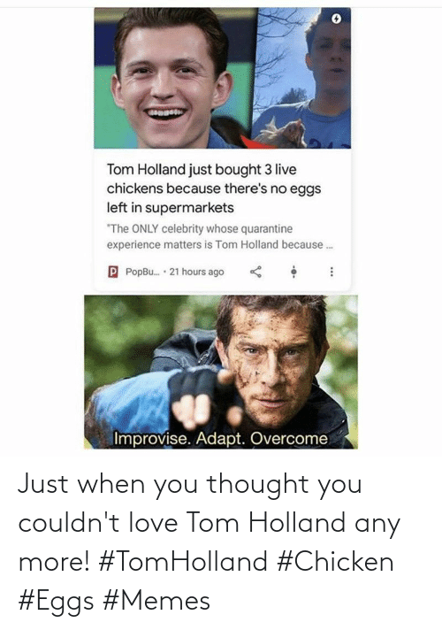 tom: Just when you thought you couldn't love Tom Holland any more! #TomHolland #Chicken #Eggs #Memes