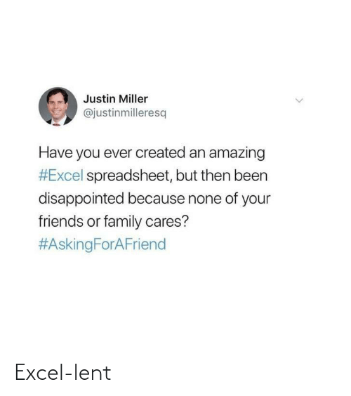 Cares: Justin Miller  @justinmilleresq  Have you ever created an amazing  #Excel spreadsheet, but then been  disappointed because none of your  friends or family cares?  Excel-lent