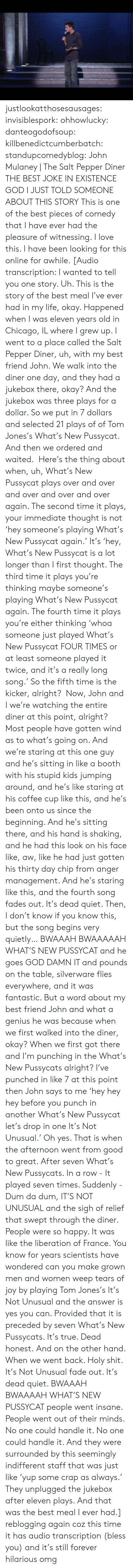 chicago il: justlookatthosesausages: invisiblespork:  ohhowlucky:  danteogodofsoup:  killbenedictcumberbatch:  standupcomedyblog:  John Mulaney | The Salt  Pepper Diner  THE BEST JOKE IN EXISTENCE  GOD I JUST TOLD SOMEONE ABOUT THIS STORY  This is one of the best pieces of comedy that I have ever had the pleasure of witnessing. I love this. I have been looking for this online for awhile.  [Audio transcription: I wanted to tell you one story. Uh. This is the story of the best meal I've ever had in my life, okay. Happened when I was eleven years old in Chicago, IL where I grew up. I went to a place called the Salt  Pepper Diner, uh, with my best friend John. We walk into the diner one day, and they had a jukebox there, okay? And the jukebox was three plays for a dollar. So we put in 7 dollars and selected 21 plays of of Tom Jones's What's New Pussycat. And then we ordered and waited. Here's the thing about when, uh, What's New Pussycat plays over and over and over and over and over again. The second time it plays, your immediate thought is not 'hey someone's playing What's New Pussycat again.' It's 'hey, What's New Pussycat is a lot longer than I first thought. The third time it plays you're thinking maybe someone's playing What's New Pussycat again. The fourth time it plays you're either thinking 'whoa someone just played What's New Pussycat FOUR TIMES or at least someone played it twice, and it's a really long song.' So the fifth time is the kicker, alright? Now, John and I we're watching the entire diner at this point, alright? Most people have gotten wind as to what's going on. And we're staring at this one guy and he's sitting in like a booth with his stupid kids jumping around, and he's like staring at his coffee cup like this, and he's been onto us since the beginning. And he's sitting there, and his hand is shaking, and he had this look on his face like, aw, like he had just gotten his thirty day chip from anger management. And he's staring like this, and the 
