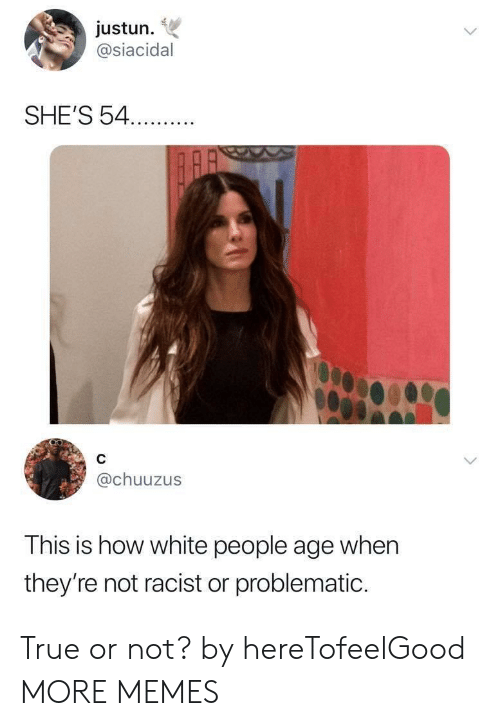 Not Racist: justun.  @siacidal  SHE'S 54.  @chuuzus  This is how white people age when  they're not racist or problematic. True or not? by hereTofeelGood MORE MEMES