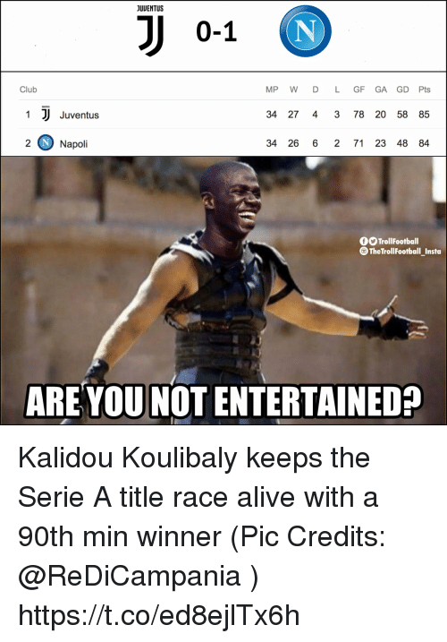 Napoli: JUUENTUS  0-1  Club  MP W D L GF GA GD Pts  1  Juventus  34 27 4 3 78 20 58 85  2 Napoli  34 26 6 2 71 23 48 84  TrollFootball  TheTrollFootball_Insta  ARE YOU NOT ENTERTAINED? Kalidou Koulibaly keeps the Serie A title race alive with a 90th min winner (Pic Credits: @ReDiCampania ) https://t.co/ed8ejlTx6h