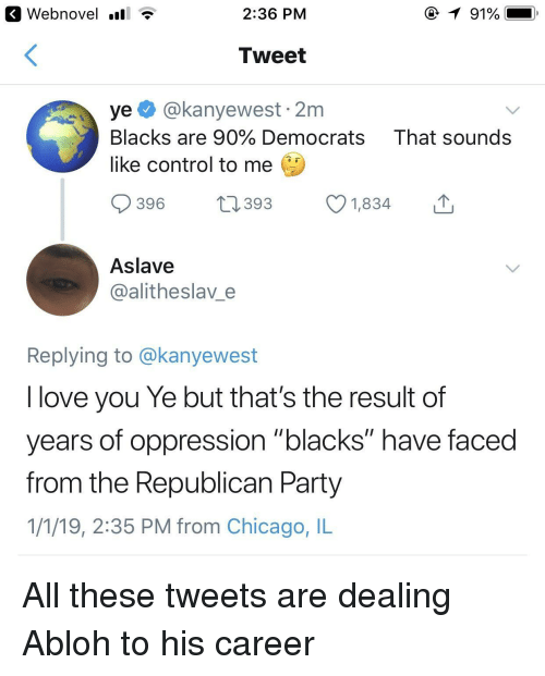 """chicago il: K Webnovel .all T  2:36 PM  Tweet  ye@kanyewest 2m  Blacks are 90% Democrats That sounds  like control to me  396 1393 1834  Aslave  @alitheslav e  Replying to @kanyewest  I love you Ye but that's the result of  years of oppression """"blacks"""" have faced  from the Republican Party  1/1/19, 2:35 PM from Chicago, IL All these tweets are dealing Abloh to his career"""