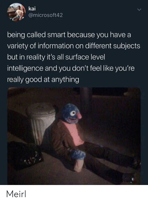 Good, Information, and Reality: kai  @microsoft42  being called smart because you have a  variety of information on different subjects  but in reality it's all surface level  intelligence and you don't feel like you're  really good at anything Meirl