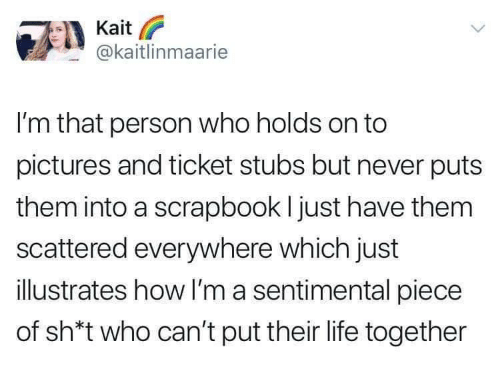 Sh T: Kait  @kaitlinmaarie  I'm that person who holds on to  pictures and ticket stubs but never puts  them into a scrapbook I just have them  scattered everywhere which just  illustrates how I'm a sentimental piece  of sh*t who can't put their life together