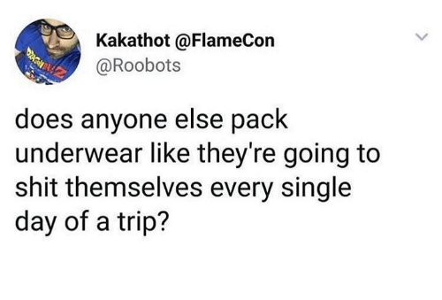 Dank, Shit, and Single: Kakathot @FlameCon  @Roobots  does anyone else pack  underwear like they're going to  shit themselves every single  day of a trip?