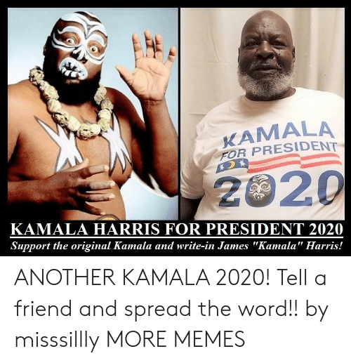 """Dank, Memes, and Target: KAMALA  FOR PRESIDENT  2020  KAMALA HARRIS FOR PRESIDENT 2020  Support the original Kamala and write-in James """"Kamala"""" Harris! ANOTHER KAMALA 2020! Tell a friend and spread the word!! by misssillly MORE MEMES"""