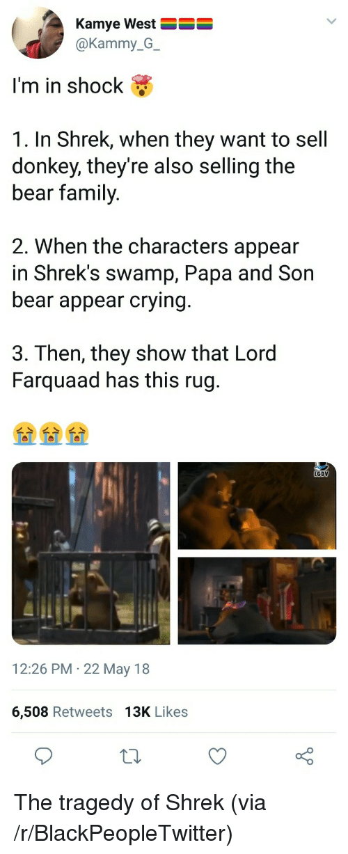 farquaad: Kamye West  @Kammy_G_  I'm in shock &  1. In Shrek, when they want to sell  donkey, they're also selling the  bear family  2. When the characters appear  in Shrek's swamp, Papa and Son  bear appear crying  3. Then, they show that Lord  Farquaad has this rug  LGDV  12:26 PM 22 May 18  6,508 Retweets 13K Likes <p>The tragedy of Shrek (via /r/BlackPeopleTwitter)</p>