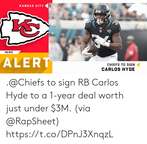 Memes, News, and Chiefs: KANSAS CITY  NEWS  ALERT  CHIEFS TO SIGN  CARLOS HYDE .@Chiefs to sign RB Carlos Hyde to a 1-year deal worth just under $3M.  (via @RapSheet) https://t.co/DPnJ3XnqzL