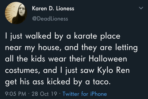 lioness: Karen D. Lioness  @DeadLioness  I just walked by a karate place  near my house, and they are letting  all the kids wear their Halloween  costumes, and I just saw Kylo Ren  get his ass kicked by a ta co.  9:05 PM 28 Oct 19 Twitter for iPhone