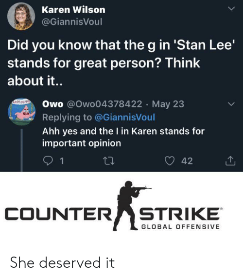 counter strike: Karen Wilson  @GiannisVoul  Did you know that the g in 'Stan Lee'  stands for great person? Think  about it..  EMOn9a  Owo @Owo04378422 May 23  Replying to @GiannisVoul  Ahh yes and the I in Karen stands for  important opinion  42  1  COUNTER  STRIKE  GLOBAL OFFENSIVE She deserved it