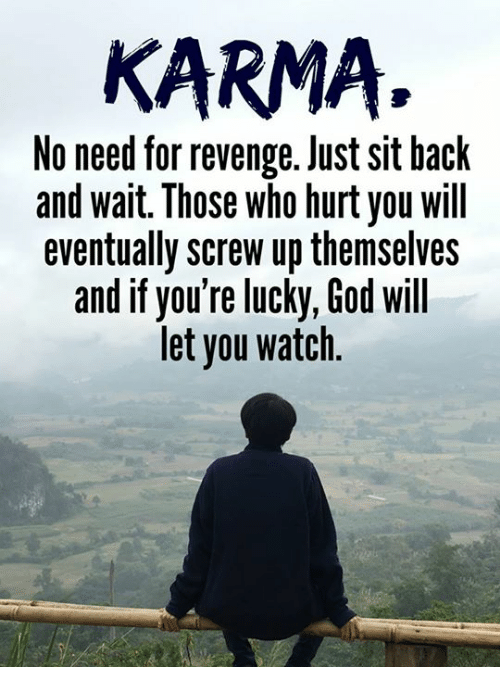 God, Memes, and Revenge: KARMA.  No need for revenge. Just sit hack  and wait. Those who hurt you will  eventually screw up themselves  and if you're lucky, God will  let you watch