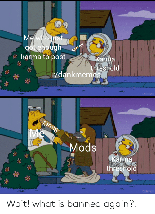 Karma, What Is, and Dank Memes: karma topost  Karma  threshold  r/dankmemes  Mods  Karma  threshold Wait! what is banned again?!