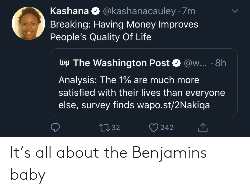 Life: @kashanacauley · 7m  Kashana  Breaking: Having Money Improves  People's Quality Of Life  wp The Washington Post  @w... · 8h  Analysis: The 1% are much more  satisfied with their lives than everyone  else, survey finds wapo.st/2Nakiqa  2732  242 It's all about the Benjamins baby