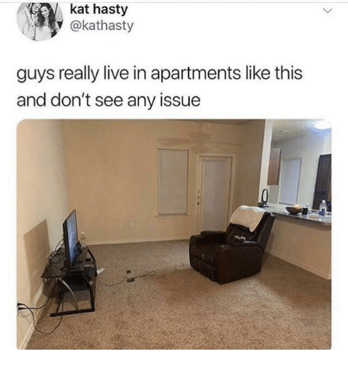 Live, Kat, and Issue: kat hasty  y @kathasty  guys really live in apartments like this  and don't see any issue