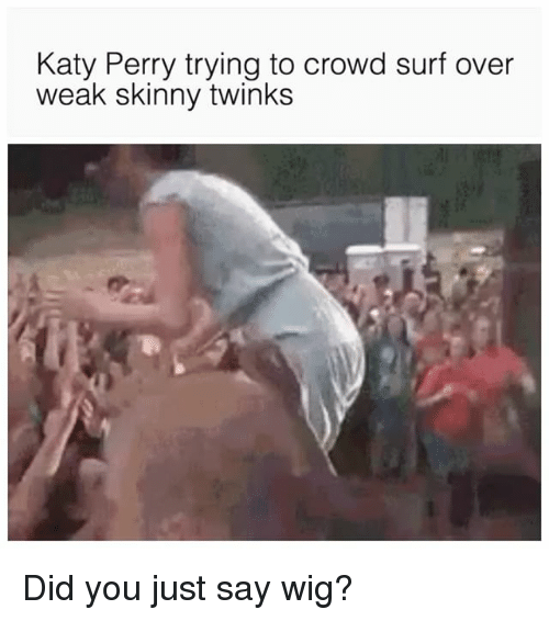 Katy Perry, Skinny, and Grindr: Katy Perry trying to crowd surf over  weak skinny twinks Did you just say wig?