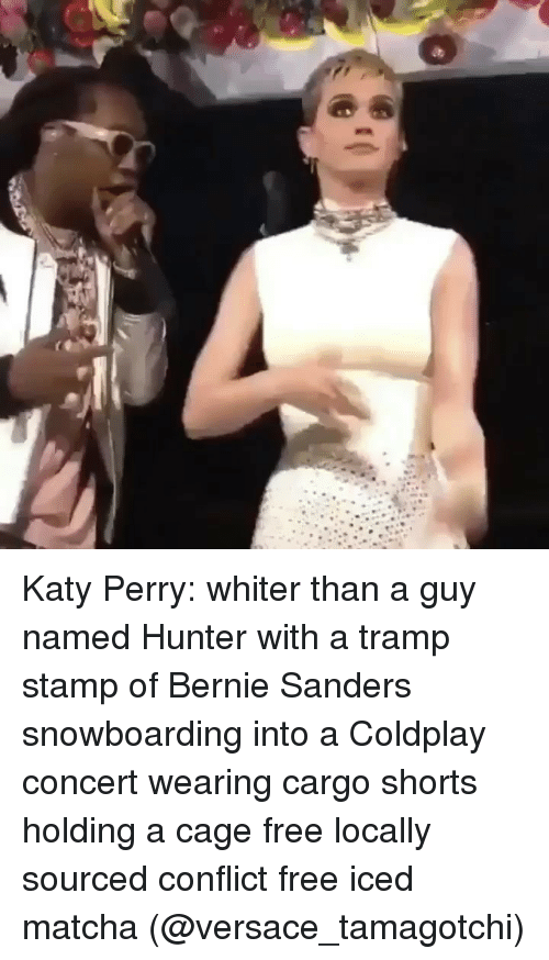 Katy Perry: Katy Perry: whiter than a guy named Hunter with a tramp stamp of Bernie Sanders snowboarding into a Coldplay concert wearing cargo shorts holding a cage free locally sourced conflict free iced matcha (@versace_tamagotchi)