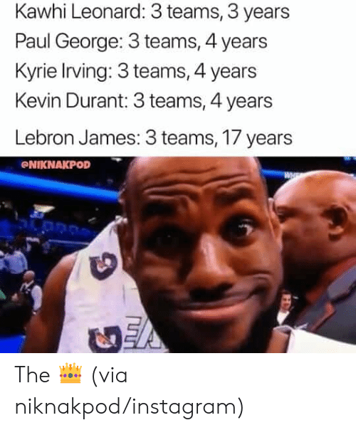 LeBron James: Kawhi Leonard: 3 teams, 3 years  Paul George: 3 teams, 4 years  Kyrie Irving: 3 teams, 4 years  Kevin Durant: 3 teams, 4 years  Lebron James: 3 teams, 17 years  NIKNAKPOD The 👑 (via niknakpod/instagram)