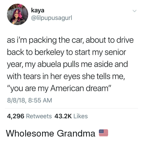 """Grandma, American, and Drive: kaya  @lilpupusagurl  as i'm packing the car, about to drive  back to berkeley to start my senior  year, my abuela pulls me aside and  with tears in her eyes she tells me,  """"you are my American dream""""  8/8/18, 8:55 AM  4,296 Retweets 43.2K Likes Wholesome Grandma 🇺🇸"""