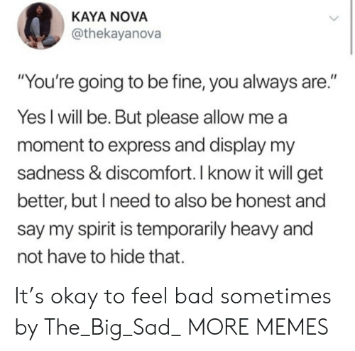 "Bad, Dank, and Memes: KAYA NOVA  @thekayanova  ""You're going to be fine, you always are.""  Yes I will be. But please allow me  moment to express and display my  sadness & discomfort. I know it will get  better, but I need to also be honest and  say my spirit is temporarily heavy and  not have to hide that. It's okay to feel bad sometimes by The_Big_Sad_ MORE MEMES"