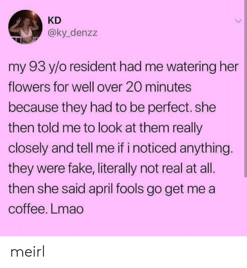 Fake, Lmao, and Coffee: KD  @ky_denzz  my 93 y/o resident had me watering her  flowers for well over 20 minutes  because they had to be perfect. she  then told me to look at them really  closely and tell me if i noticed anything  they were fake, literally not real at all.  then she said april fools go get me a  coffee. Lmao meirl