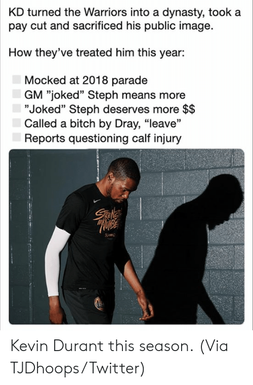"the warriors: KD turned the Warriors into a dynasty, took a  pay cut and sacrificed his public image  How they've treated him this year:  Mocked at 2018 parade  GM ""joked"" Steph means more  ""Joked"" Steph deserves more $$  Called a bitch by Dray, ""leave""  Reports questioning calf injury  Sele Kevin Durant this season.  (Via TJDhoops/Twitter)"