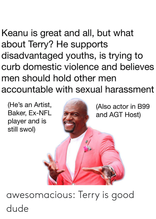 Dude, Nfl, and Tumblr: Keanu is great and all, but what  about Terry? He supports  disadvantaged youths, is trying to  curb domestic violence and believes  men should hold other men  accountable with sexual harassment  (He's an Artist,  Baker, Ex-NFL  player and is  still swol)  (Also actor in B99  and AGT Host) awesomacious:  Terry is good dude
