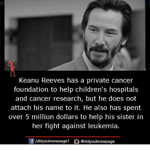 cancer research: Keanu Reeves has a private cancer  foundation to help children's hospitals  and cancer research, but he does not  attach his name to it. He also has spent  over 5 million dollars to help his sister in  her fight against leukemia  団/d.dyouknowpagel  ü@didyouknowpage